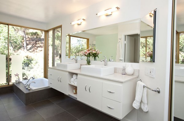 Three white bathrooms three different styles rate your for Different bathrooms