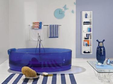 Blue Glass Bathtub by Regia