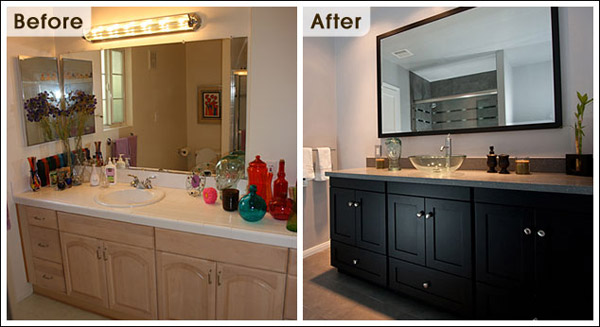 Compare before & after bathroom remodeling photos