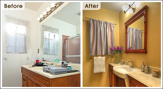 Before and after bath redesign photos