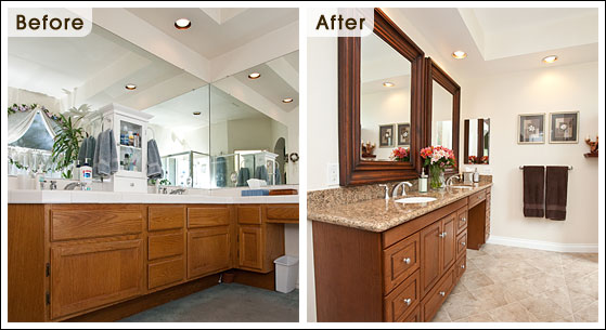 Before and after bathroom design remodel photos