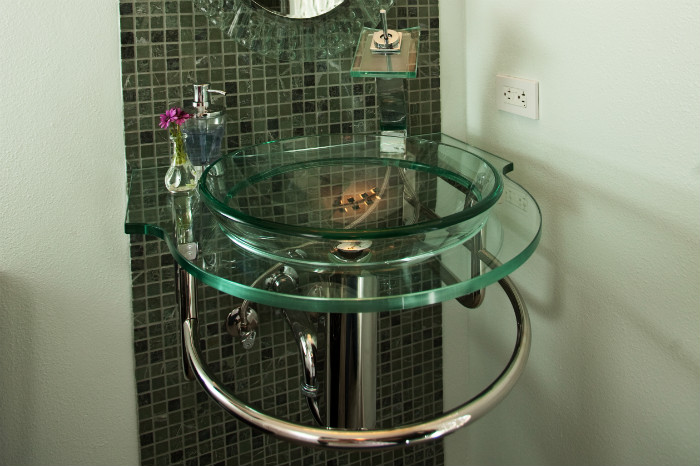 Four elegant glass vessel sinks one week bath for Are vessel sinks out of style