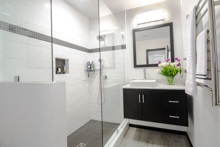 Floating vanity wall mounted black white room modern bathroom design